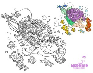 Beautiful little mermaid girl swimming with sea horse in the hands coloring page on a white background