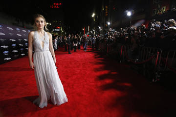 """Cast member Poots poses at the premiere of the film """"Need for Speed"""" at the TCL Chinese theatre in Hollywood"""