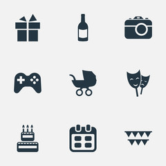 Vector Illustration Set Of Simple Birthday Icons. Elements Ribbon, Decorations;, Mask And Other Synonyms Photography, Fizz And Party.