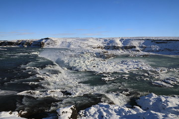 Urriðafoss in winter, Selfoss, Southern Region, Iceland