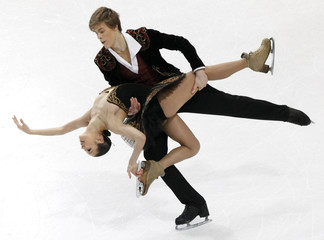 Ilinykh and Katsalapov of Russia perform during ice dance free dance competition at European Figure Skating Championships in Bern