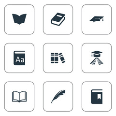 Vector Illustration Set Of Simple Education Icons. Elements Graduation Hat, Book Cover, Academic Cap And Other Synonyms Catalog, Plume And Reading.