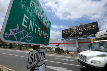 """A billboard advertising the Walt Disney Company's new movie """"Pirates of the Caribbean"""" - Dead Men Tell No Tales\"""