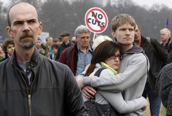 Demonstrators attend a rally in Hyde Park, during a protest organised by the Trades Union Congress in central London