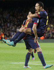 Barcelona's Correia and Rodriguez celebrate scoring a goal against Celta Vigo during their Spanish First division soccer league match in Barcelona