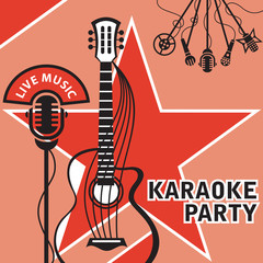 banner with microphone and guitar for karaoke