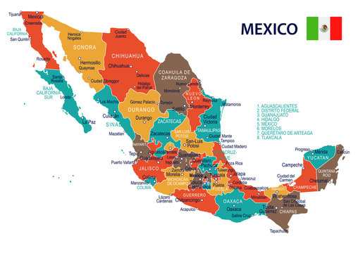 Mexico - map and flag – illustration