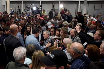 U.S. Republican presidential candidate Cruz greets supporters at a campaign rally in Rothschild, Wisconsin