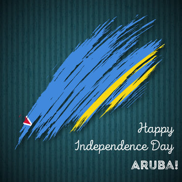 Aruba Independence Day Patriotic Design. Expressive Brush Stroke in National Flag Colors on dark striped background. Happy Independence Day Aruba Vector Greeting Card.