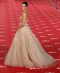 Spanish actress Michelle Jenner, nominated for Best Upcoming Actress award, poses for photographers on the red carpet as she arrives for the Spanish Film Academy's Goya awards ceremony in Madrid