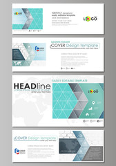 Social media and email headers set, modern banners. Abstract design template, vector layouts in popular sizes. Chemistry pattern, hexagonal molecule structure on blue. Medical, technology concept.