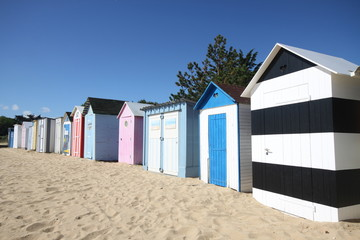 Cabines de plage, île, Saint Denis d'Oléron,plage,peinture
