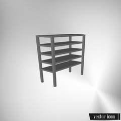 Vector blank storage shelf icon
