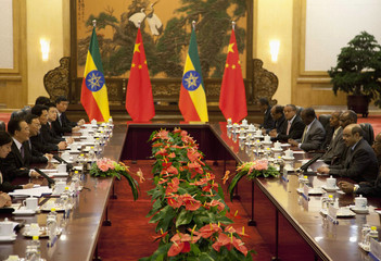 Ethiopia's PM  Zenawi meets China's Premier Wen at the Great Hall of the People in Beijing