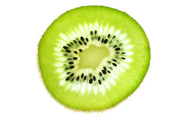 fresh slice kiwi fruit isolated on white background