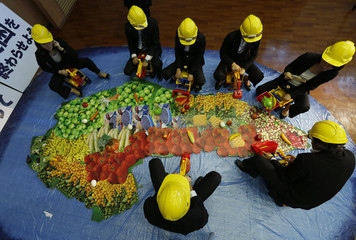 Activists ride toy excavators and bulldozers on a large map featuring pictures of food in the shape of the African continent during a protest in Tokyo