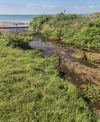 Stream flowing to beach at Manorbier, South Wales in the UK with the sea in the distance.