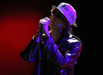 The Strokes' lead singer Julian Casablancas performs on the last day of the Coachella Valley Music & Arts Festival in Indio