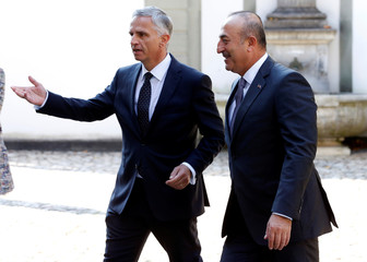Swiss Foreign Minister Burkhalter welcomes Turkish Foreign Minister Cavusoglu in Kehrsatz near Bern
