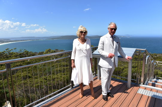Britain's Prince Charles and his wife, Camilla the Duchess of Cornwall pose for photographs at the Mt Adelaide lookout in Albany, Western Australia