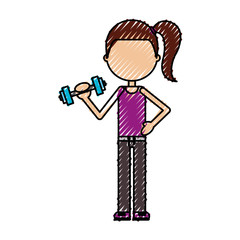 cartoon girl doing exercise with dumbells vector illustration