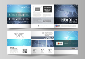 The abstract minimalistic vector illustration of the editable layout. Two creative covers design templates for square brochure. Abstract global design. Chemistry pattern, molecule structure.