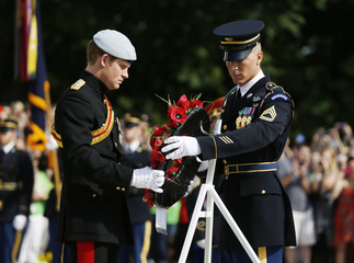 Britain's Prince Harry lays a wreath at the Tomb of the Unknowns at Arlington National Cemetery near Washington