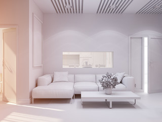 3d illustration of the interior design of the living room. The interior style of the apartment is modern. Render without textures and materials