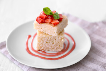 Wall Mural - Delicious crispy dessert with strawberry  on plate