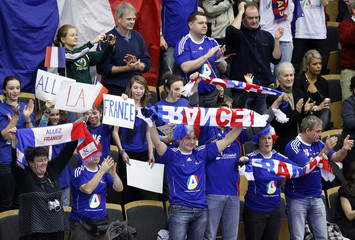 France's fans cheer for theit team ahead of group A match between France and Bahrain during the Men's Handball World Championship in Lund