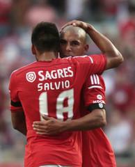 Benfica's Pereira celebrate his goal against Pacos de Ferreira with teammate Salvio during their Portuguese Premier League soccer match in Lisbon