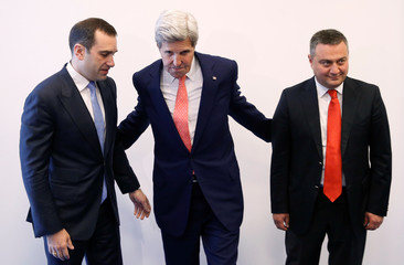 US Secretary of State Kerry meets leaders of Georgia's opposition Free Democrats party Alasania and Dolidze in Tbilisi