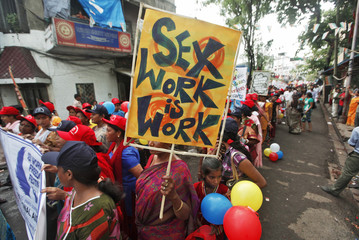 Participants take part in a rally as part of the week-long sex workers' freedom festival at the Sonagachi Red-light area in Kolkata