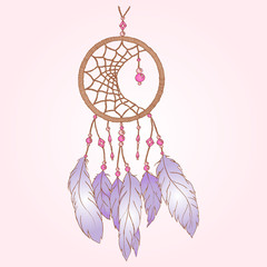 Ethnic hand made feather dream catcher isolated vector
