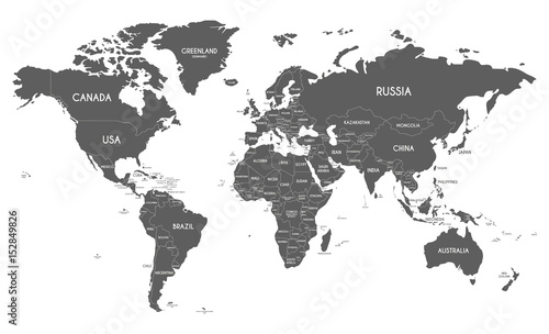 Political World Map vector illustration isolated on white background ...