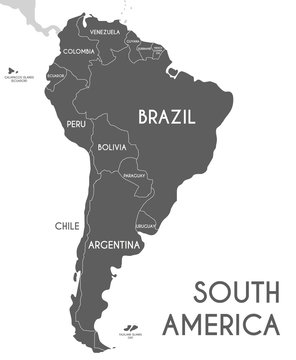 Political South America Map vector illustration isolated on white background. Editable and clearly labeled layers.
