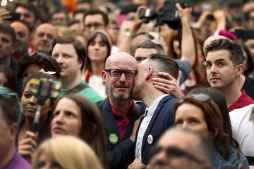 People react as Ireland voted in favour of allowing same-sex marriage in a historic referendum, in Dublin