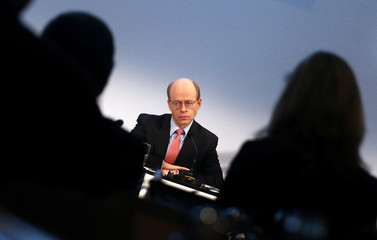 Von Bomhard, CEO of German Reinsurer Munich Re, during before the company's annual news conference in Munich
