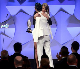 Ruby Rose accepts the Stephen F. Kolzak Award during the 27th annual GLAAD Media Awards in Beverly Hills, California
