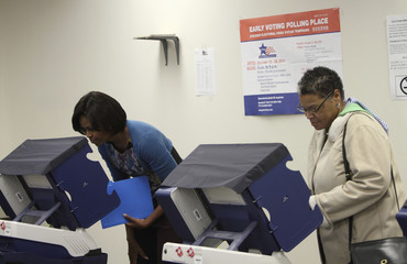 U.S. first lady Michelle Obama votes alongside Amanda Deisch in early voting in Chicago