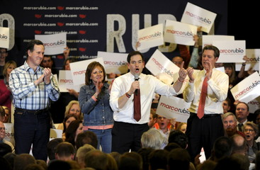U.S. Republican Presidential candidate Sen. Marco Rubio speaks during a rally in Overland Park