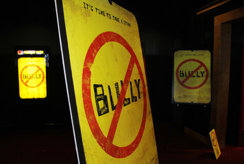"Movie posters are seen for the documentary film ""Bully"" during its Los Angeles premiere in Hollywood"