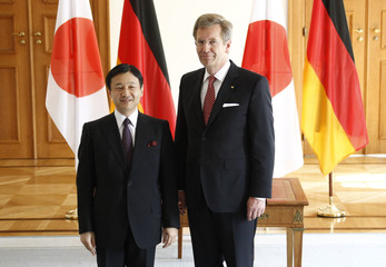 Japanese Crown Prince Naruhito poses with German President Wulff during visit to Bellevue palace in Berlin