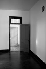 Black and White Open Door Empty Room