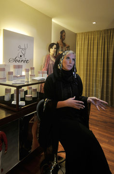 Mandi, founder and CEO of One Pure Halal Skincare, speaks during an interview about her line of Halal beauty products at a salon in Dubai