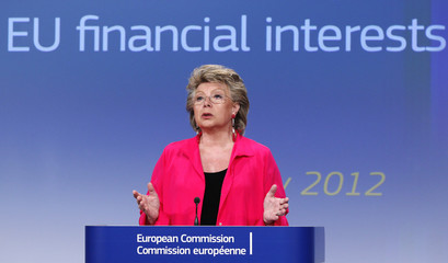 EU Justice Commissioner Reding addresses a news conference in Brussels