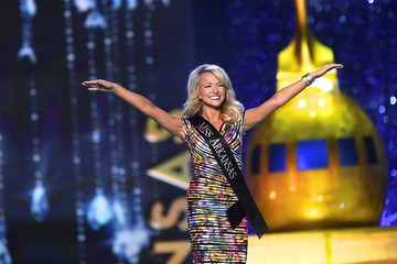 Miss Arkansas Savvy Shields, 21, reacts as she advances in the competition en route to winning the 96th Miss America Pageant in Boardwalk Hall in Atlantic City