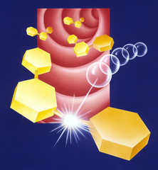 Stylized molecules in the Gastro Intestinal Tract or blood vessel. Can be used to show molecules of any kind including drugs, nutirents, supplements, etc.