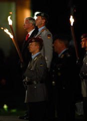 Koch, outgoing Premier of Germany's federal state of Hesse, attends a military tattoo at the Biebrich castle in Wiesbaden