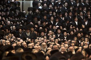 Ultra-Orthodox Jews attend additional part of wedding ceremony of Chananya Yom Tov Lipe Hager and his bride Etel Tverski in Bnei Brak near Tel Aviv